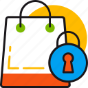 bag, lock, locked, protection, safe, secure, shopping icon