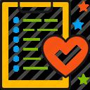 checklist, document, favourite, heart, like, list, wishlist icon