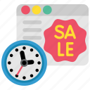 clock, ecommerce, online, sale, shopping, time, web icon