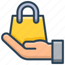 bag, buying, e-commerce, hand, purchase, sales, shopping icon