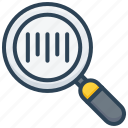 barcode, code, e-commerce, magnify glass, search, shopping icon