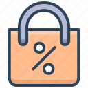 bag, buy, discount, e-commerce, percent, shopping icon