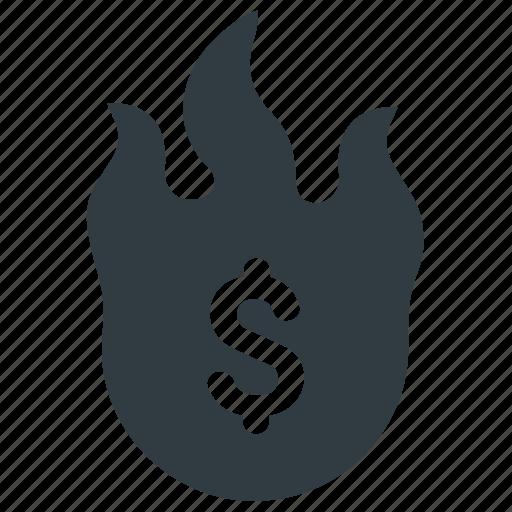 damage, financial, financial loss, loss, money, money burning, waste icon