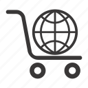 ecommerce, global shopping, shopping cart icon