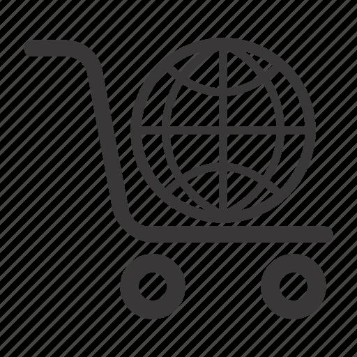 ecommerce, global shopping, shopping cart icon