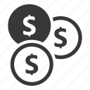 coins, dollar, savings icon