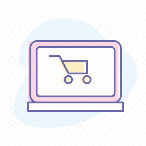 business, cart, e-commerce, laptop, online, shopping, website icon