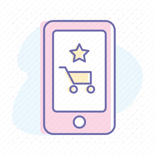 app, business, cart, online, rating, shopping, smartphone icon