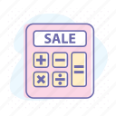 accounting, calculation, calculator, discount, financial, math, sale icon