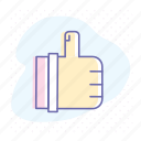 approve, gesture, hand, like, social, success, thumbs up icon