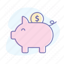 bank, business, coin, economy, money, pig, savings icon