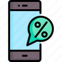 discount, message, mobile, offer, online, promotion, sale icon