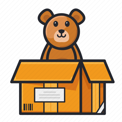Box, doll, gift, goods, stuff, teddy bear icon - Download on Iconfinder