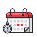 calendar, date, deadline, duration, time icon