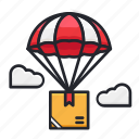 delivery, flight, parachute, shipment, transportation icon