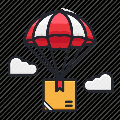delivery, flight, parachute, shipment, transportation icon