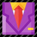 ecommerce, man, shirt, suit, wardrobe icon