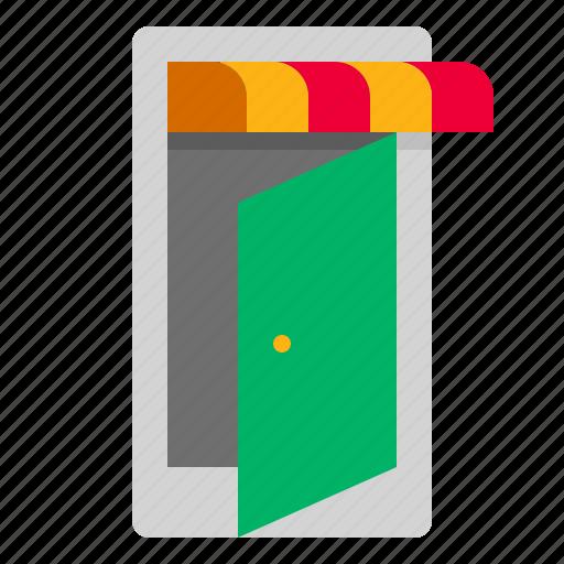 door, open, store icon