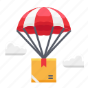 delivery, flight, parachute, shipment, transport, transportation icon