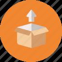 box, ecommerce, package, unbox, unpacking, upload icon