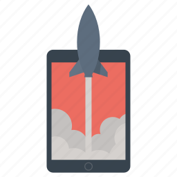 ipad, launch, marketing, rocket, start, tablet icon