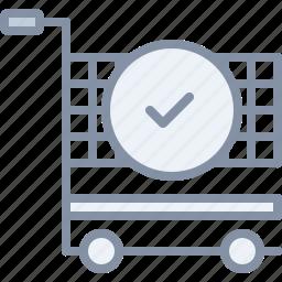 cart, cashout, check, ecommerce, ok, shopping, tick icon