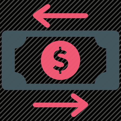 arrows, business, direction, dollar, finance, money, transfer icon