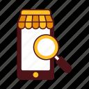 commerce, e-commerce, locate, online, search, search store, shop, smartphone, store icon