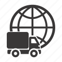 delivery, global, shipping, truck, world, worldwide icon