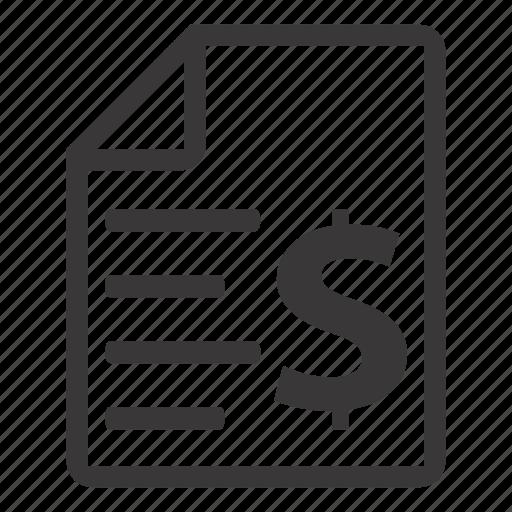 bill, cheque, invoice icon