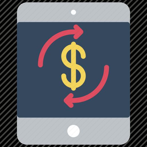 dollar, ecommerce, ipad, mobile, money, processing icon