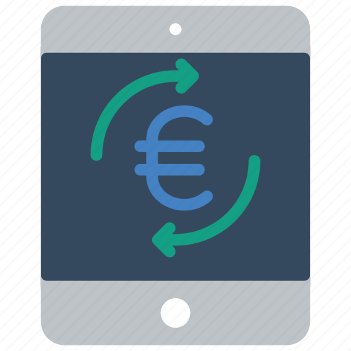 ecommerce, euro, ipad, moblie, payment, processing icon