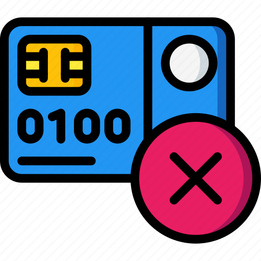 card, credit, debit, declined, ecommerce, payment, visa icon