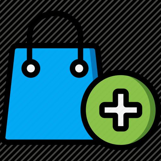 add, bag, ecommerce, shopping icon