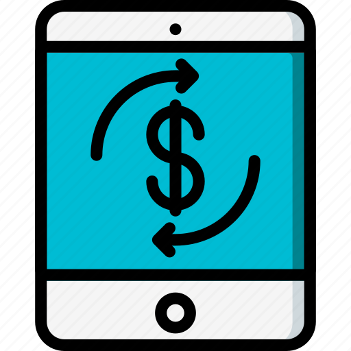 dollar, ecommerce, ipad, mobile, payment, processing icon