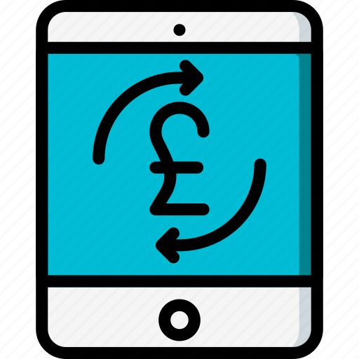 ecommerce, ipad, mobile, payment, pound, processing icon