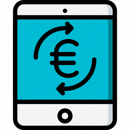 ecommerce, euro, ipad, mobile, payment, processing icon