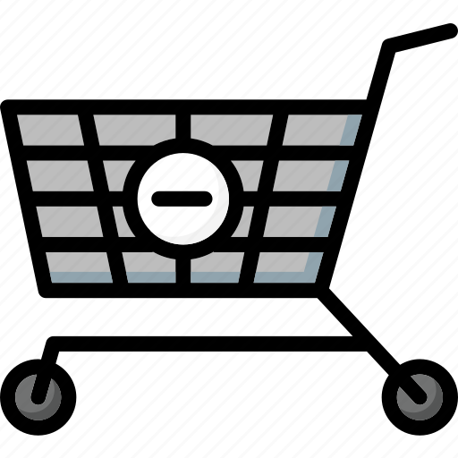 colour, commerce, from, remove, shopping, trolley, ultra icon