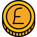 coin, colour, commerce, e, pound, ultra icon