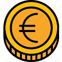 coin, colour, commerce, e, euro, ultra icon