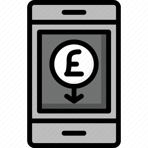 colour, commerce, mobile, pay, pounds, ultra, via icon
