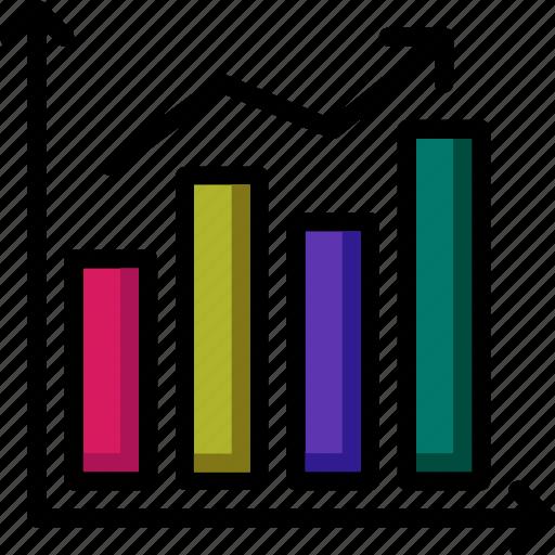 chart, colour, commerce, e, flow, increase, ultra icon