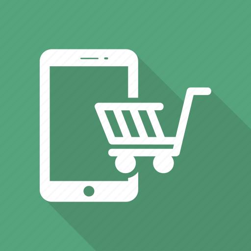 bag, cart, mobile, phone, shop, shopping cart icon