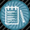 notepad, pen, pencil, text icon