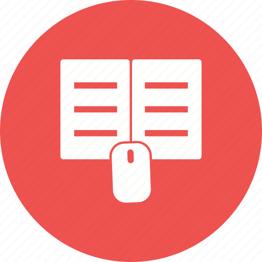 book, click, download, education, knowledge, manuals, textbook icon