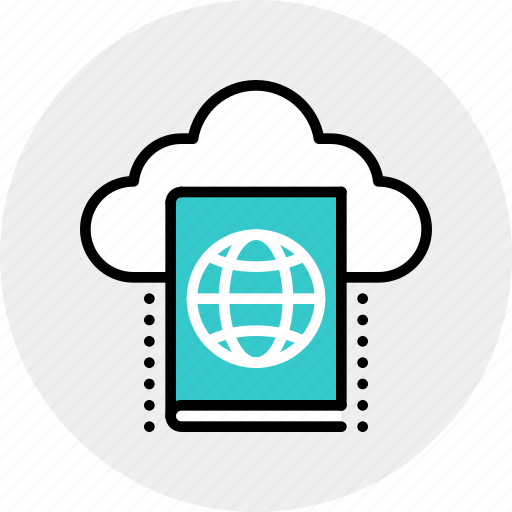 book, cloud, education, library, online icon