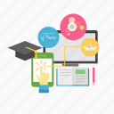 computer, courses, e-learning, education, online, study, technology icon
