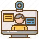 computer, diploma, e-learning, education, learn, school, webcam icon