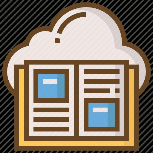 book, cloud, diploma, e-learning, education, learn, school icon