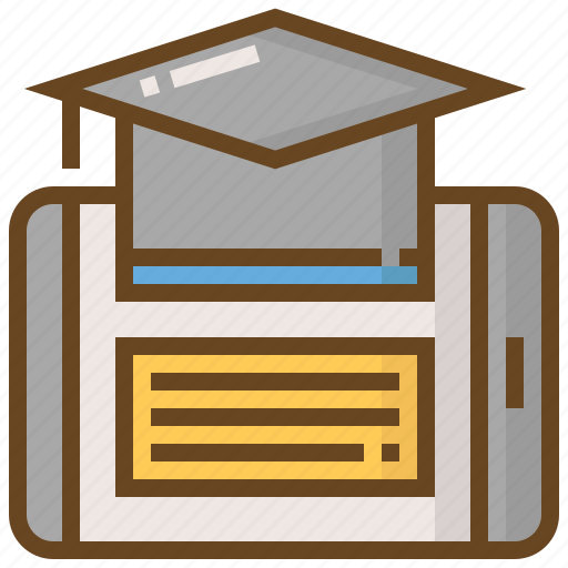 diploma, e-learning, education, hat, learn, school, smartphone icon